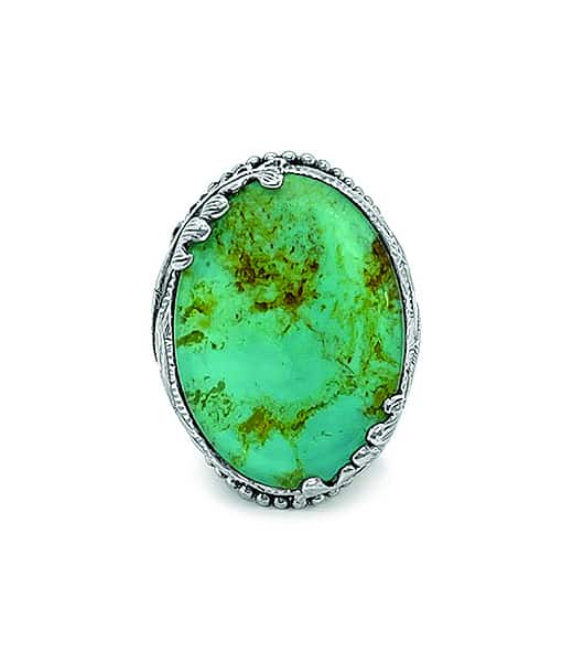 Stephen Dweck American Turquoise Natural Quartz Engraved Ring in Sterling Silver