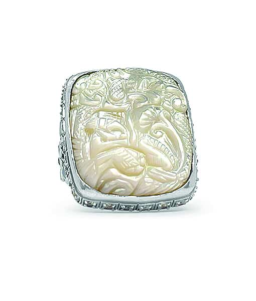 Stephen Dweck Carved White Mother of Pearl Ring with Rinbow Moonstone and Natural Quartz