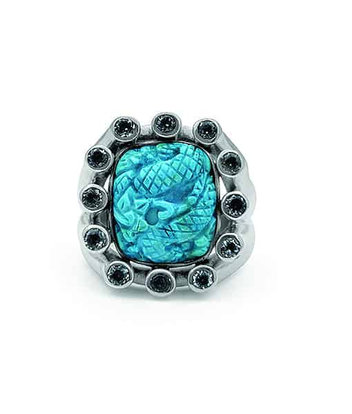 Stephen Dweck Carved Turquoise Ring with Blue Topaz